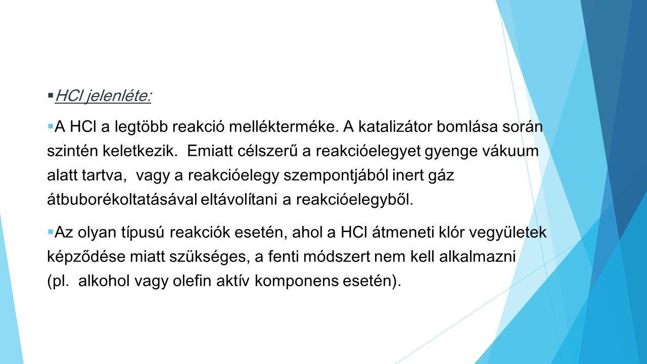  HCl jelenléte:  A HCl a legtöbb reakció mellékterméke. A katalizátor bomlása során szintén keletkezik. Emiatt célszerű a reakcióelegyet gyenge váku