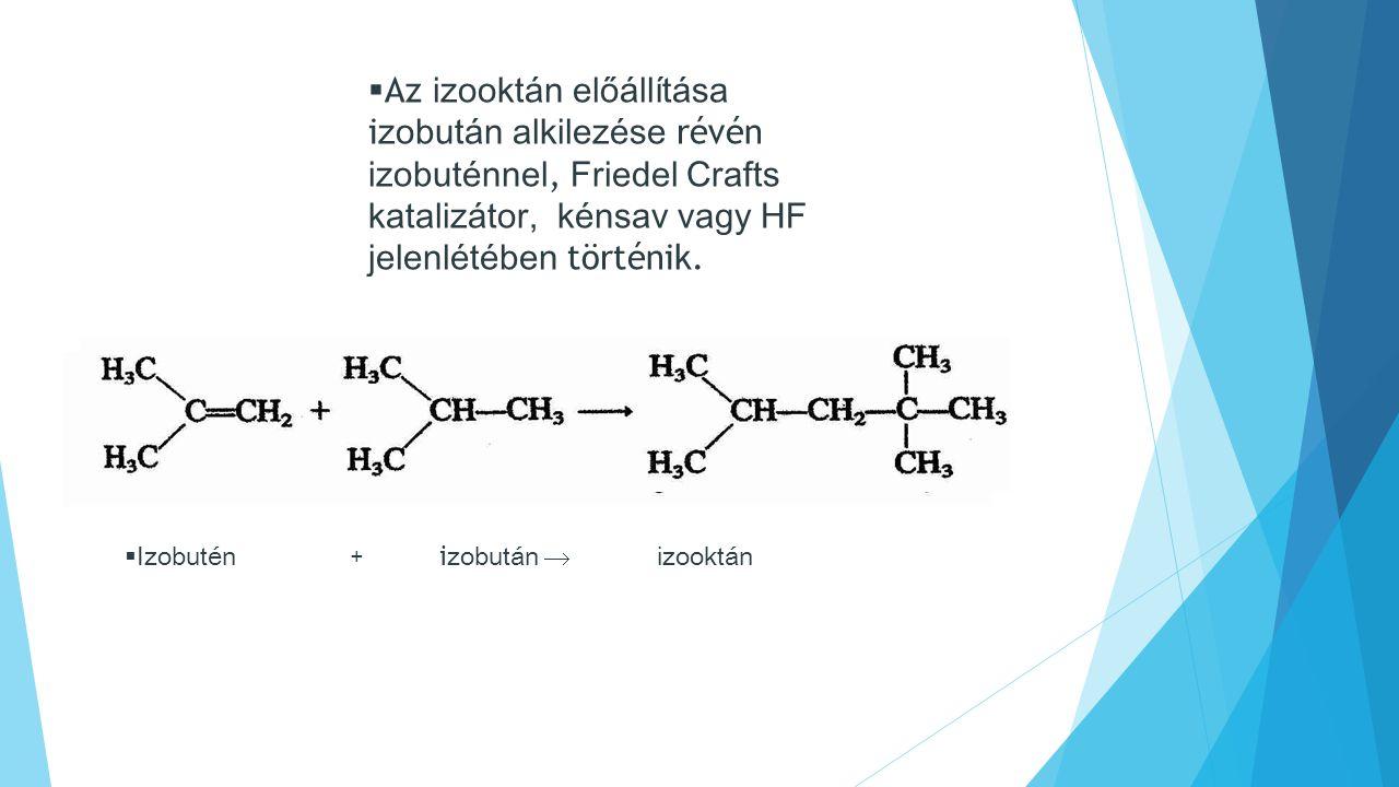  I zobutén +i zobután  izooktán  Az izooktán előállítása i zobután alkilezése révén izobuténnel, Friedel Crafts katalizátor, kénsav vagy HF jelenlétében történik.