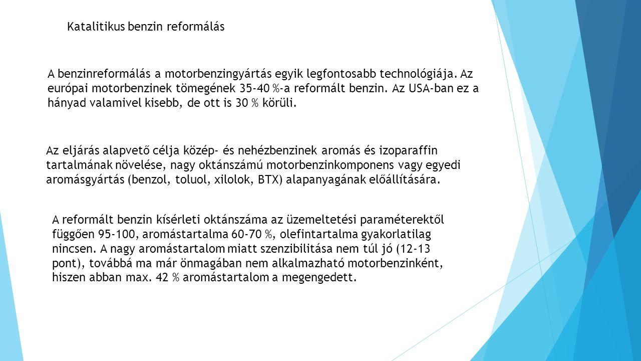 Katalitikus benzin reformálás A benzinreformálás a motorbenzingyártás egyik legfontosabb technológiája. Az európai motorbenzinek tömegének 35-40 %-a r