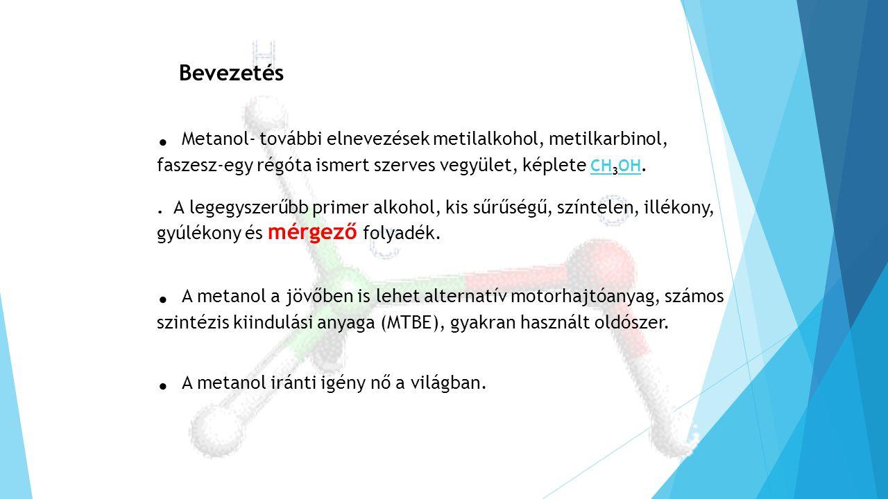 . Metanol- további elnevezések metilalkohol, metilkarbinol, faszesz-egy régóta ismert szerves vegyület, képlete CH 3 OH. CH OH. A legegyszerűbb primer
