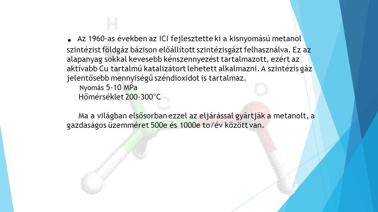 . Az 1960-as években az ICI fejlesztette ki a kisnyomású metanol szintézist földgáz bázison előállított szintézisgázt felhasználva. Ez az alapanyag so