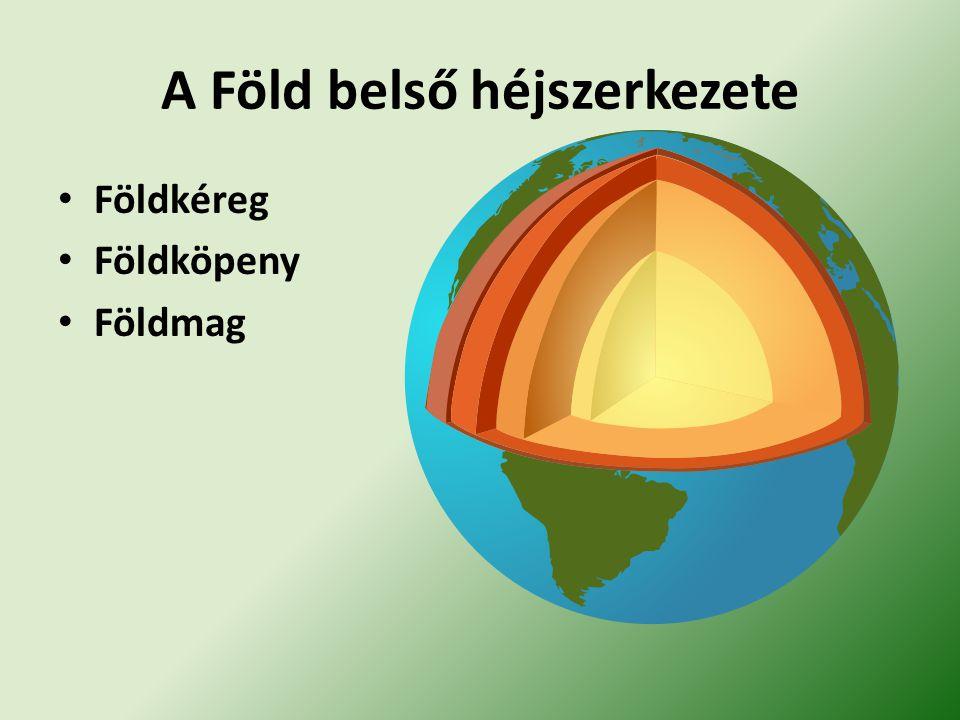 A Föld belső héjszerkezete Földkéreg Földköpeny Földmag