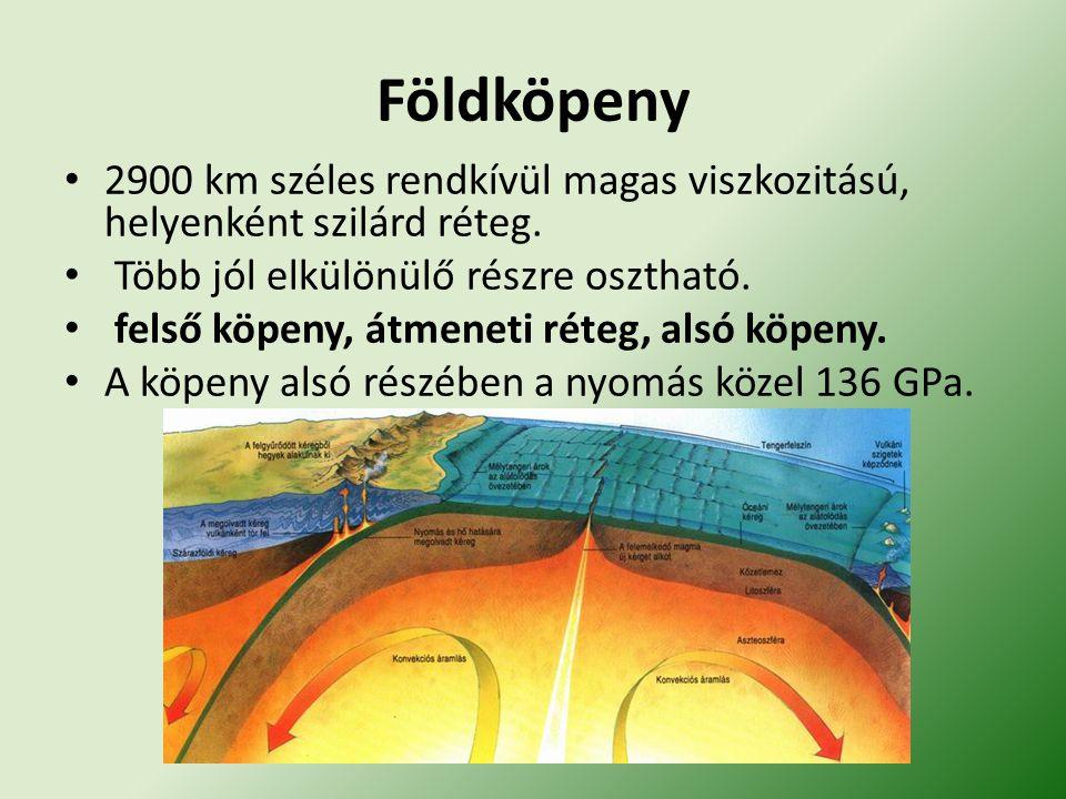 Földköpeny 2900 km széles rendkívül magas viszkozitású, helyenként szilárd réteg.
