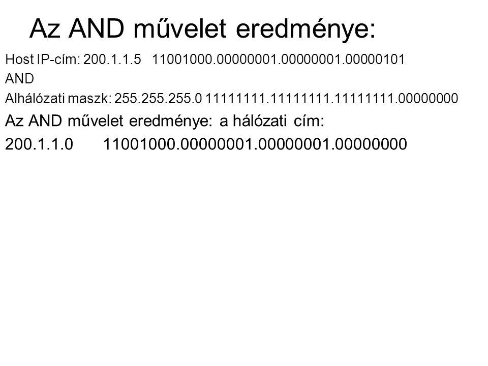 Az AND művelet eredménye: Host IP-cím: 200.1.1.5 11001000.00000001.00000001.00000101 AND Alhálózati maszk: 255.255.255.0 11111111.11111111.11111111.00000000 Az AND művelet eredménye: a hálózati cím: 200.1.1.0 11001000.00000001.00000001.00000000