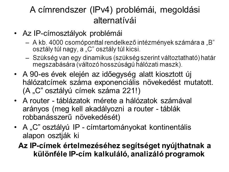 A címrendszer (IPv4) problémái, megoldási alternatívái Az IP-címosztályok problémái –A kb.