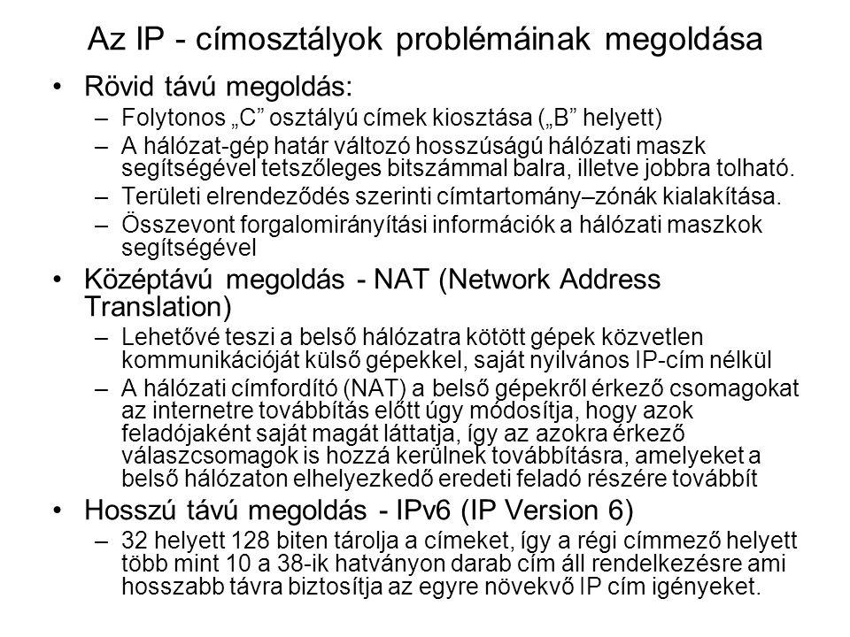 """Az IP - címosztályok problémáinak megoldása Rövid távú megoldás: –Folytonos """"C osztályú címek kiosztása (""""B helyett) –A hálózat-gép határ változó hosszúságú hálózati maszk segítségével tetszőleges bitszámmal balra, illetve jobbra tolható."""