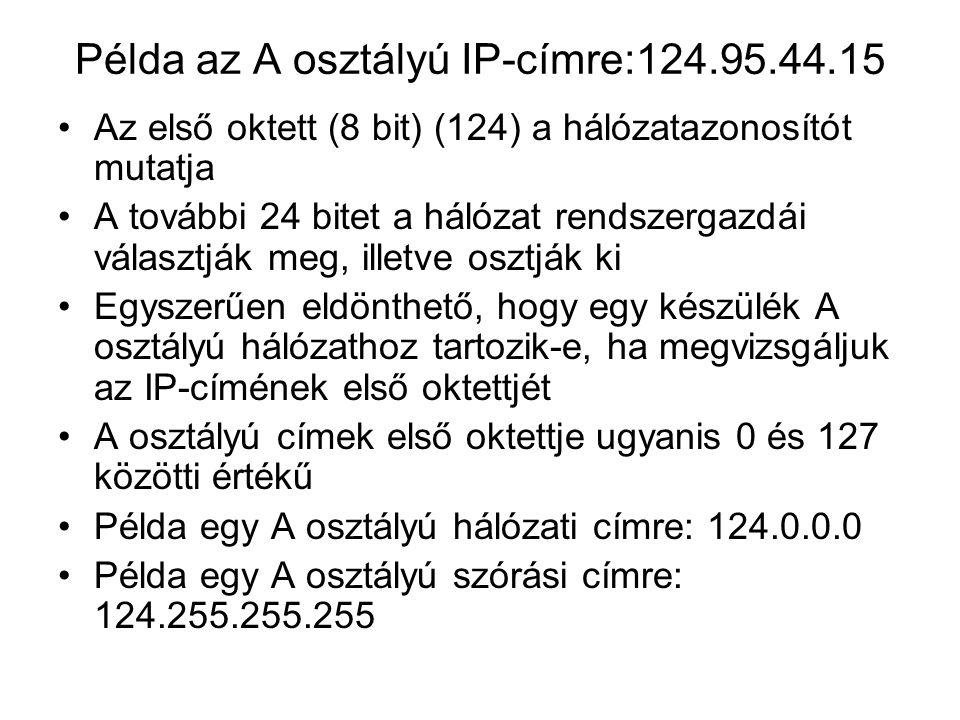 Példa az A osztályú IP-címre:124.95.44.15 Az első oktett (8 bit) (124) a hálózatazonosítót mutatja A további 24 bitet a hálózat rendszergazdái választják meg, illetve osztják ki Egyszerűen eldönthető, hogy egy készülék A osztályú hálózathoz tartozik-e, ha megvizsgáljuk az IP-címének első oktettjét A osztályú címek első oktettje ugyanis 0 és 127 közötti értékű Példa egy A osztályú hálózati címre: 124.0.0.0 Példa egy A osztályú szórási címre: 124.255.255.255