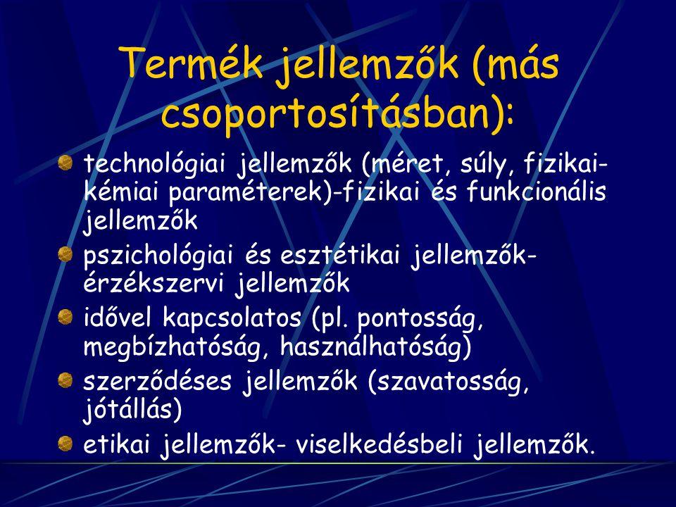 Termék jellemzők (más csoportosításban): technológiai jellemzők (méret, súly, fizikai- kémiai paraméterek)-fizikai és funkcionális jellemzők pszicholó