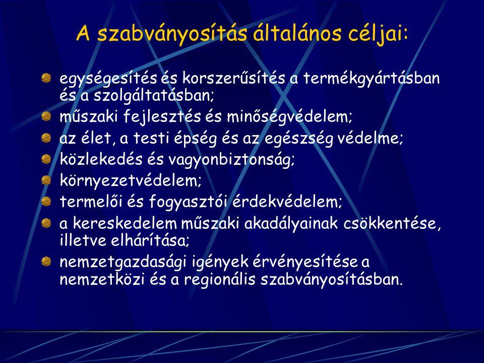 A szabványosítás általános céljai: egységesítés és korszerűsítés a termékgyártásban és a szolgáltatásban; műszaki fejlesztés és minőségvédelem; az éle