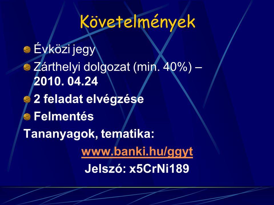 Követelmények Évközi jegy Zárthelyi dolgozat (min. 40%) – 2010. 04.24 2 feladat elvégzése Felmentés Tananyagok, tematika: www.banki.hu/ggyt Jelszó: x5