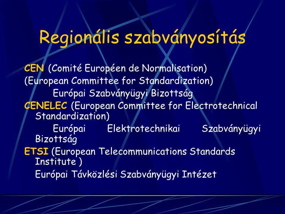 Regionális szabványosítás CEN (Comité Européen de Normalisation) (European Committee for Standardization) Európai Szabványügyi Bizottság CENELEC (Euro