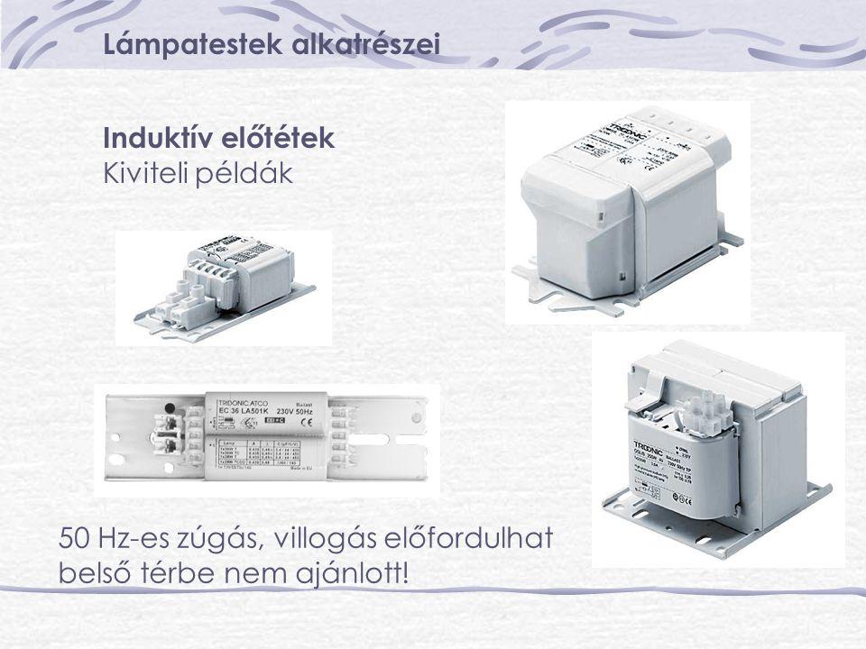 Lámpatestek alkatrészei Induktív előtétek Kiviteli példák 50 Hz-es zúgás, villogás előfordulhat belső térbe nem ajánlott!