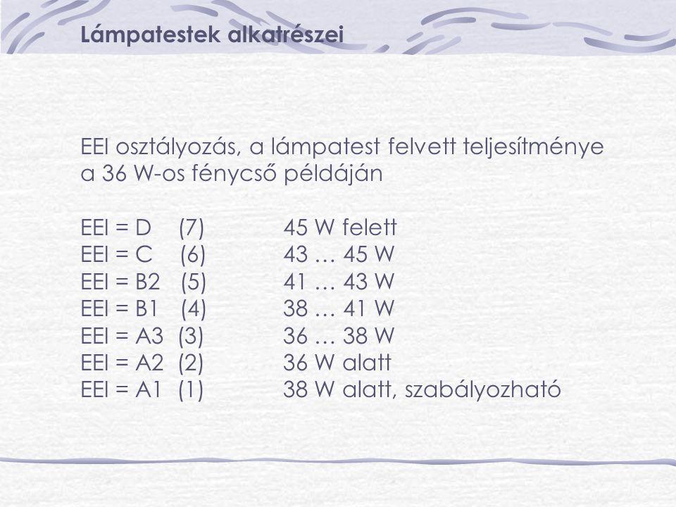 Lámpatestek alkatrészei EEI osztályozás, a lámpatest felvett teljesítménye a 36 W-os fénycső példáján EEI = D (7)45 W felett EEI = C (6)43 … 45 W EEI