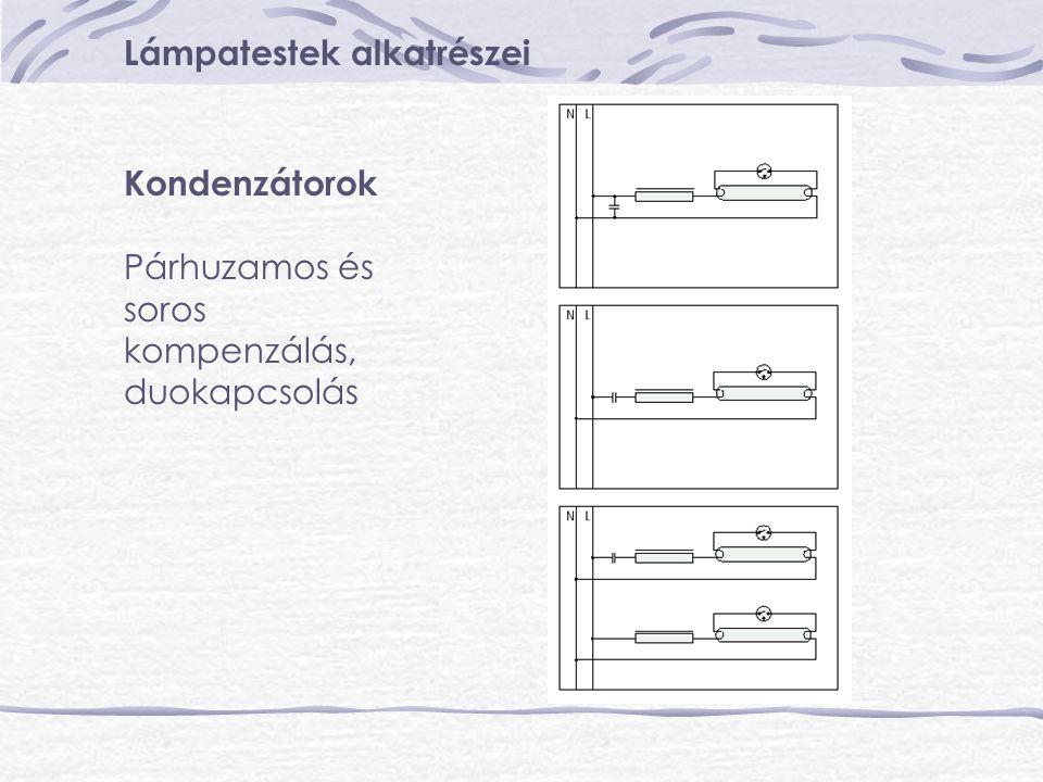 Lámpatestek alkatrészei Kondenzátorok Párhuzamos és soros kompenzálás, duokapcsolás