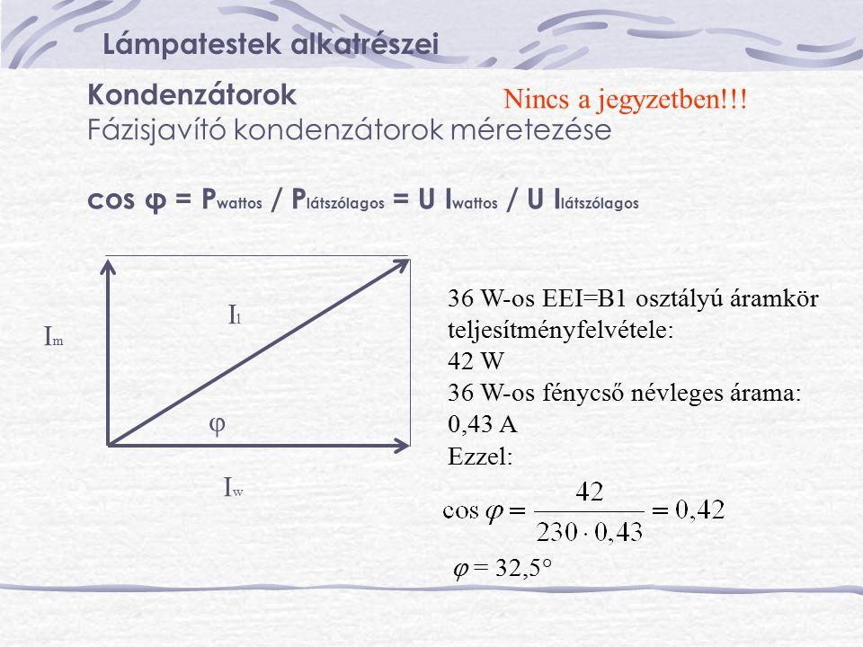 Lámpatestek alkatrészei Kondenzátorok Fázisjavító kondenzátorok méretezése cos φ = P wattos / P látszólagos = U I wattos / U I látszólagos IwIw ImIm 