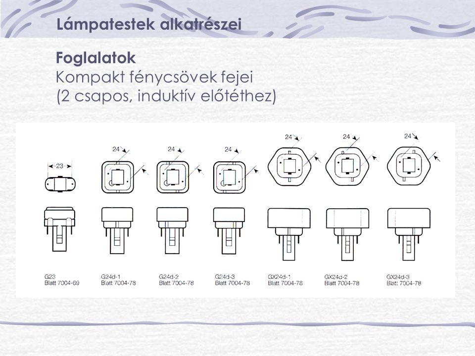 Lámpatestek alkatrészei Foglalatok Kompakt fénycsövek fejei (2 csapos, induktív előtéthez)