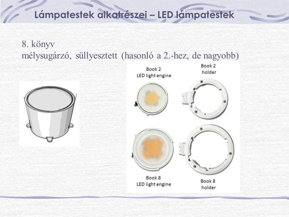 Lámpatestek alkatrészei – LED lámpatestek 8. könyv mélysugárzó, süllyesztett (hasonló a 2.-hez, de nagyobb)