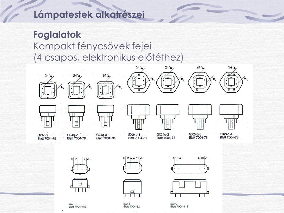 Lámpatestek alkatrészei Foglalatok Kompakt fénycsövek fejei (4 csapos, elektronikus előtéthez)