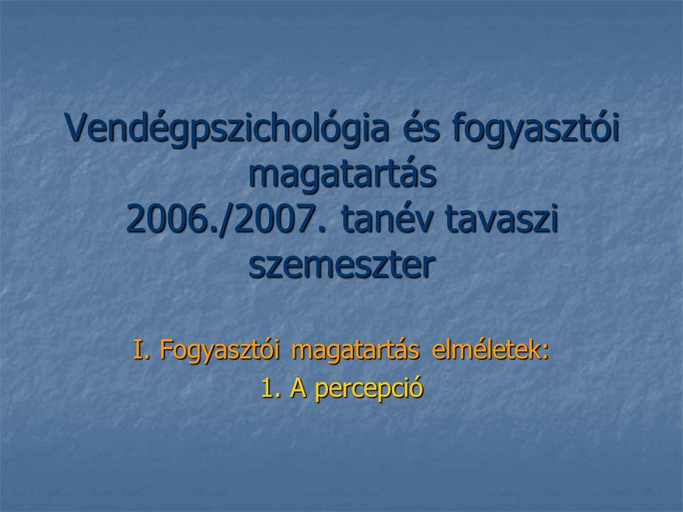 Vendégpszichológia és fogyasztói magatartás 2006./2007. tanév tavaszi szemeszter I. Fogyasztói magatartás elméletek: 1. A percepció