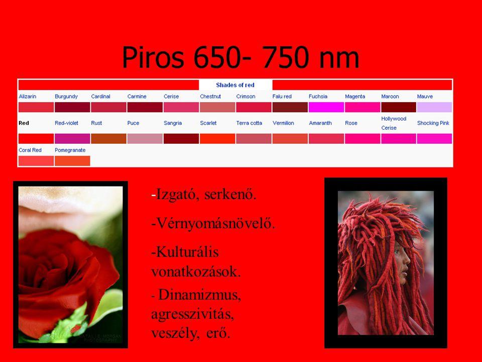 Piros 650- 750 nm -Izgató, serkenő. -Vérnyomásnövelő. -Kulturális vonatkozások. - Dinamizmus, agresszivitás, veszély, erő.