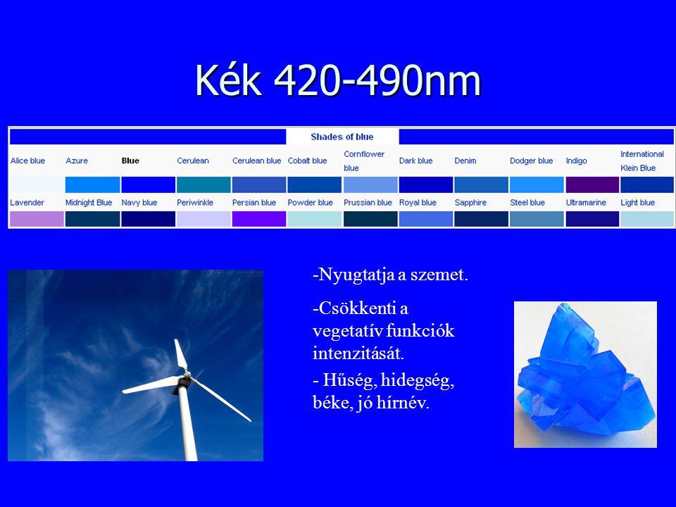Kék 420-490nm -Nyugtatja a szemet. -Csökkenti a vegetatív funkciók intenzitását. - Hűség, hidegség, béke, jó hírnév.