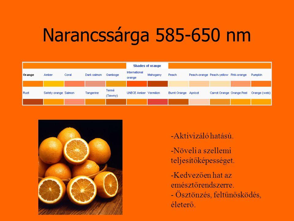 Narancssárga 585-650 nm -Aktivizáló hatású. -Növeli a szellemi teljesítőképességet. -Kedvezően hat az emésztőrendszerre. - Ösztönzés, feltűnősködés, é