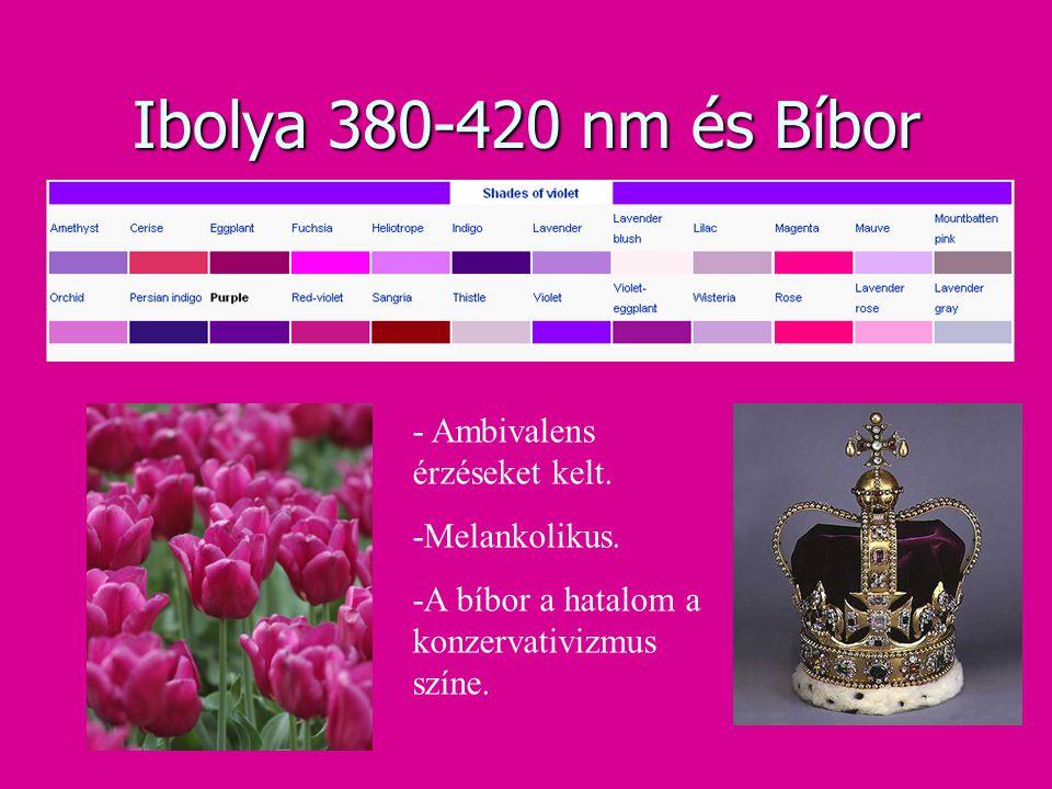 Ibolya 380-420 nm és Bíbor - Ambivalens érzéseket kelt. -Melankolikus. -A bíbor a hatalom a konzervativizmus színe.