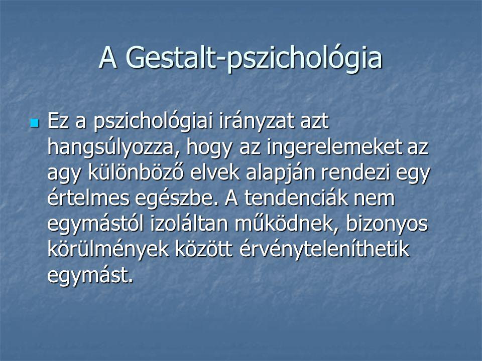 A Gestalt-pszichológia Ez a pszichológiai irányzat azt hangsúlyozza, hogy az ingerelemeket az agy különböző elvek alapján rendezi egy értelmes egészbe