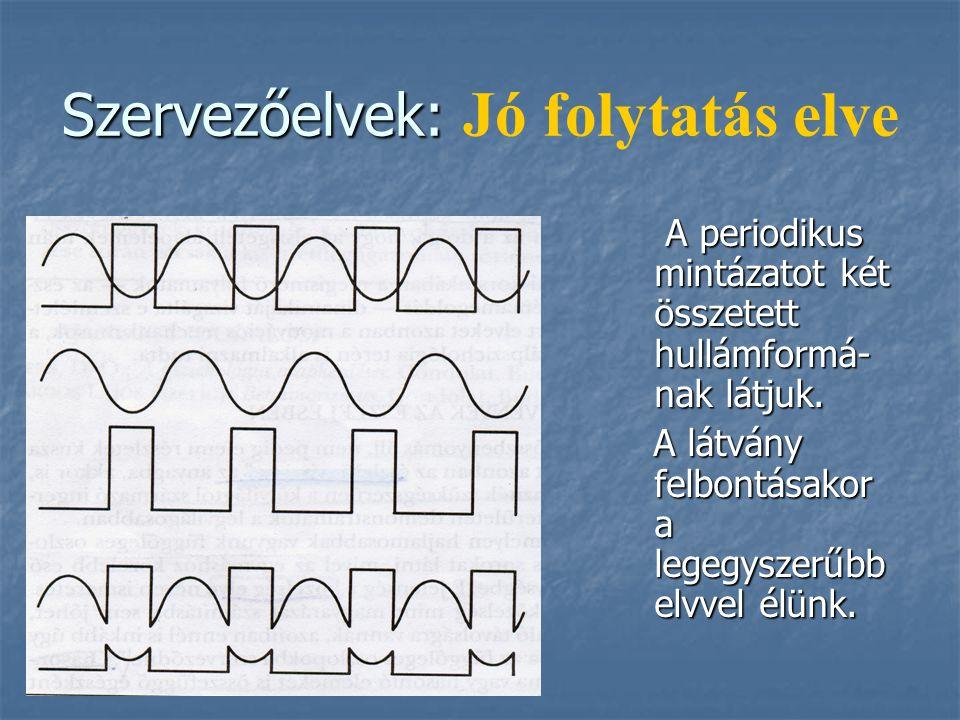 Szervezőelvek: Szervezőelvek: Jó folytatás elve A periodikus mintázatot két összetett hullámformá- nak látjuk. A periodikus mintázatot két összetett h
