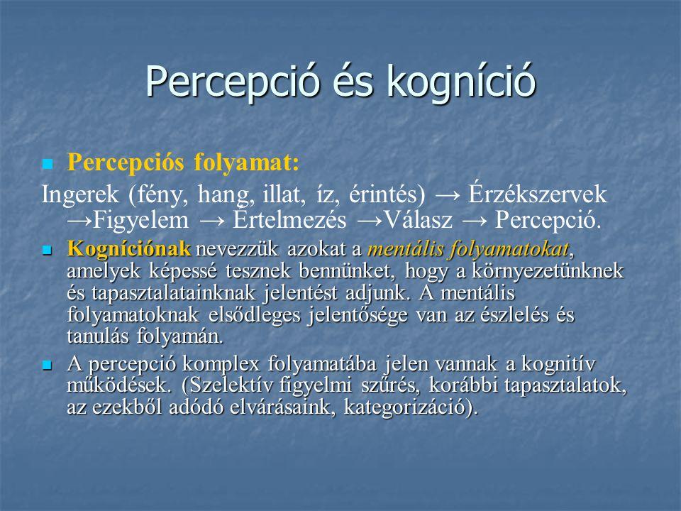 Percepció és kogníció Percepciós folyamat: Ingerek (fény, hang, illat, íz, érintés) → Érzékszervek →Figyelem → Értelmezés →Válasz → Percepció. Kogníci