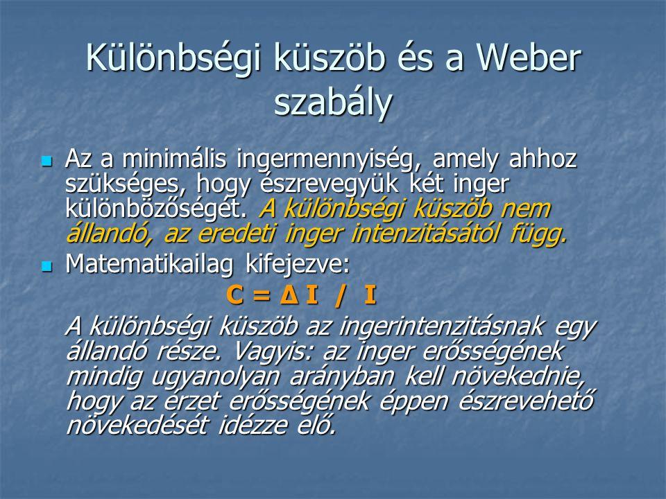 Különbségi küszöb és a Weber szabály Az a minimális ingermennyiség, amely ahhoz szükséges, hogy észrevegyük két inger különbözőségét. A különbségi küs