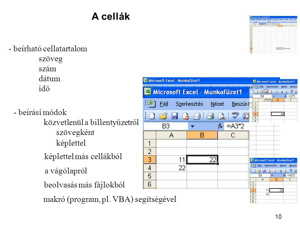 10 A cellák - beírható cellatartalom szöveg szám dátum idő - beírási módok közvetlenül a billentyűzetről szövegként képlettel képlettel más cellákból a vágólapról beolvasás más fájlokból makró (program, pl.
