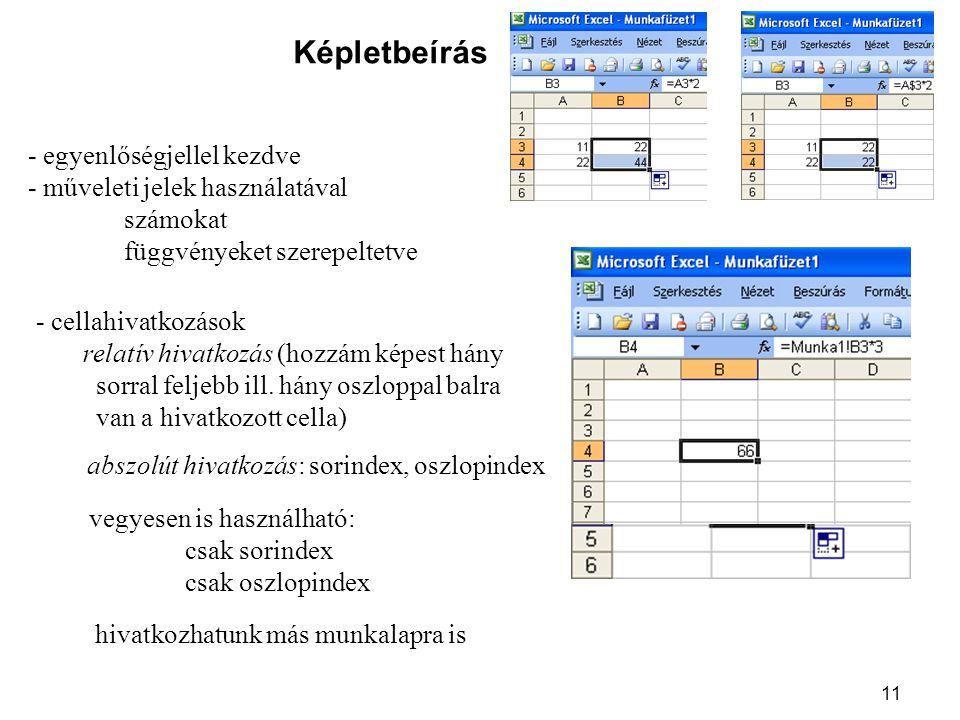 11 Képletbeírás - egyenlőségjellel kezdve - műveleti jelek használatával számokat függvényeket szerepeltetve - cellahivatkozások relatív hivatkozás (hozzám képest hány sorral feljebb ill.