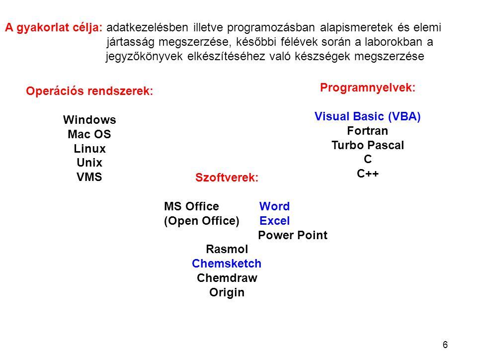 6 Operációs rendszerek: Windows Mac OS Linux Unix VMS Programnyelvek: Visual Basic (VBA) Fortran Turbo Pascal C C++ Szoftverek: MS OfficeWord (Open Office)Excel Power Point Rasmol Chemsketch Chemdraw Origin A gyakorlat célja: adatkezelésben illetve programozásban alapismeretek és elemi jártasság megszerzése, későbbi félévek során a laborokban a jegyzőkönyvek elkészítéséhez való készségek megszerzése