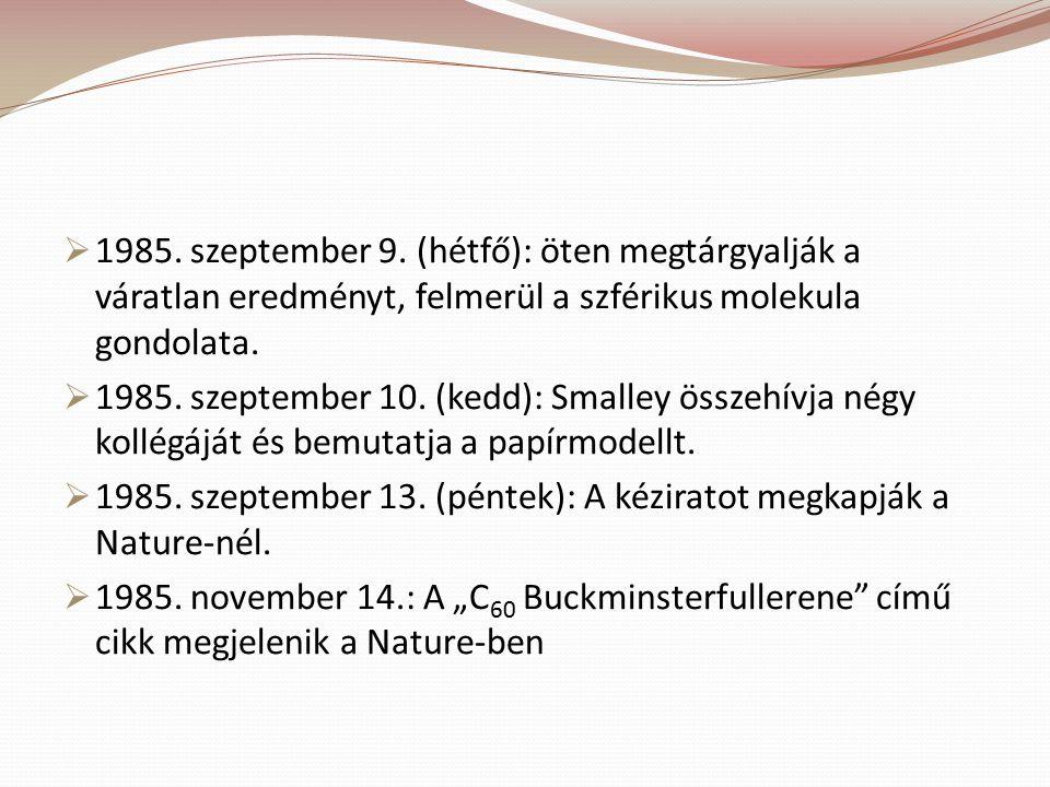  1985. szeptember 9. (hétfő): öten megtárgyalják a váratlan eredményt, felmerül a szférikus molekula gondolata.  1985. szeptember 10. (kedd): Smalle