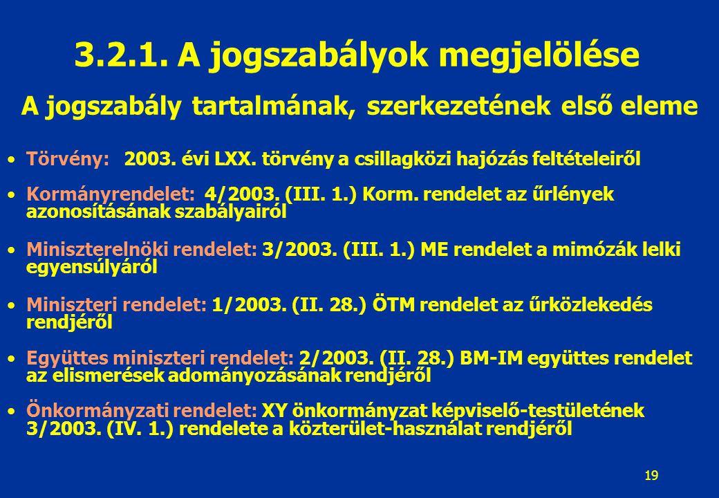 19 A jogszabály tartalmának, szerkezetének első eleme Törvény: 2003. évi LXX. törvény a csillagközi hajózás feltételeiről Kormányrendelet: 4/2003. (II