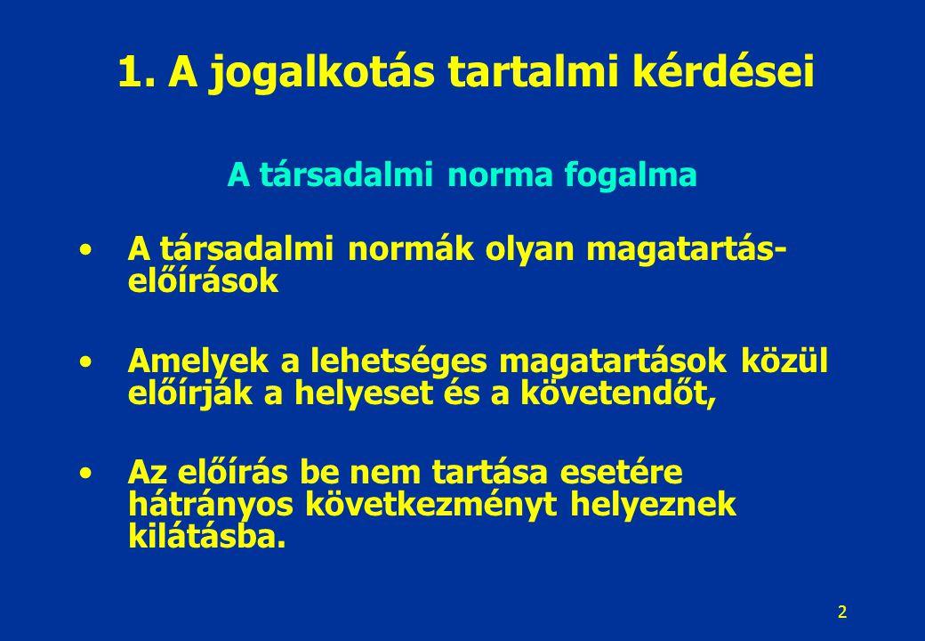 2 1. A jogalkotás tartalmi kérdései A társadalmi norma fogalma A társadalmi normák olyan magatartás- előírások Amelyek a lehetséges magatartások közül