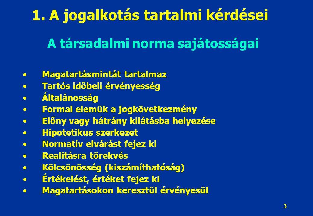 3 1. A jogalkotás tartalmi kérdései A társadalmi norma sajátosságai Magatartásmintát tartalmaz Tartós időbeli érvényesség Általánosság Formai elemük a
