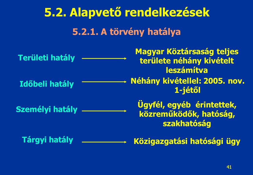 41 5.2. Alapvető rendelkezések 5.2.1. A törvény hatálya Területi hatály Időbeli hatály Személyi hatály Tárgyi hatály Magyar Köztársaság teljes terület