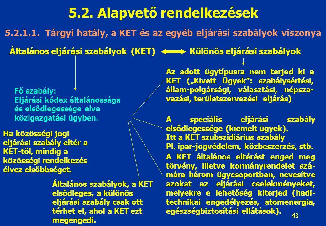 43 5.2. Alapvető rendelkezések 5.2.1.1. Tárgyi hatály, a KET és az egyéb eljárási szabályok viszonya Általános eljárási szabályok (KET)Különös eljárás