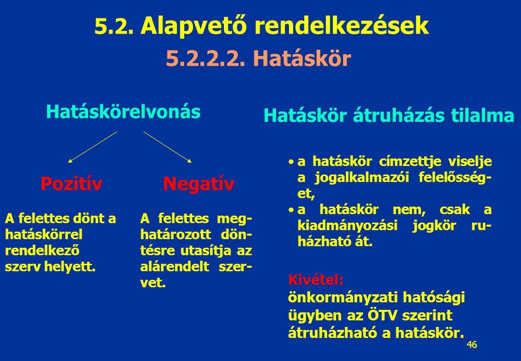 46 Hatáskörelvonás PozitívNegatív A felettes dönt a hatáskörrel rendelkező szerv helyett. A felettes meg- határozott dön- tésre utasítja az alárendelt