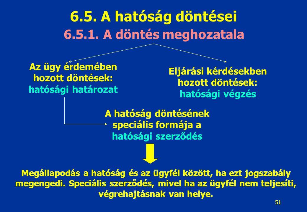 51 6.5. A hatóság döntései 6.5.1. A döntés meghozatala Az ügy érdemében hozott döntések: hatósági határozat Eljárási kérdésekben hozott döntések: ható