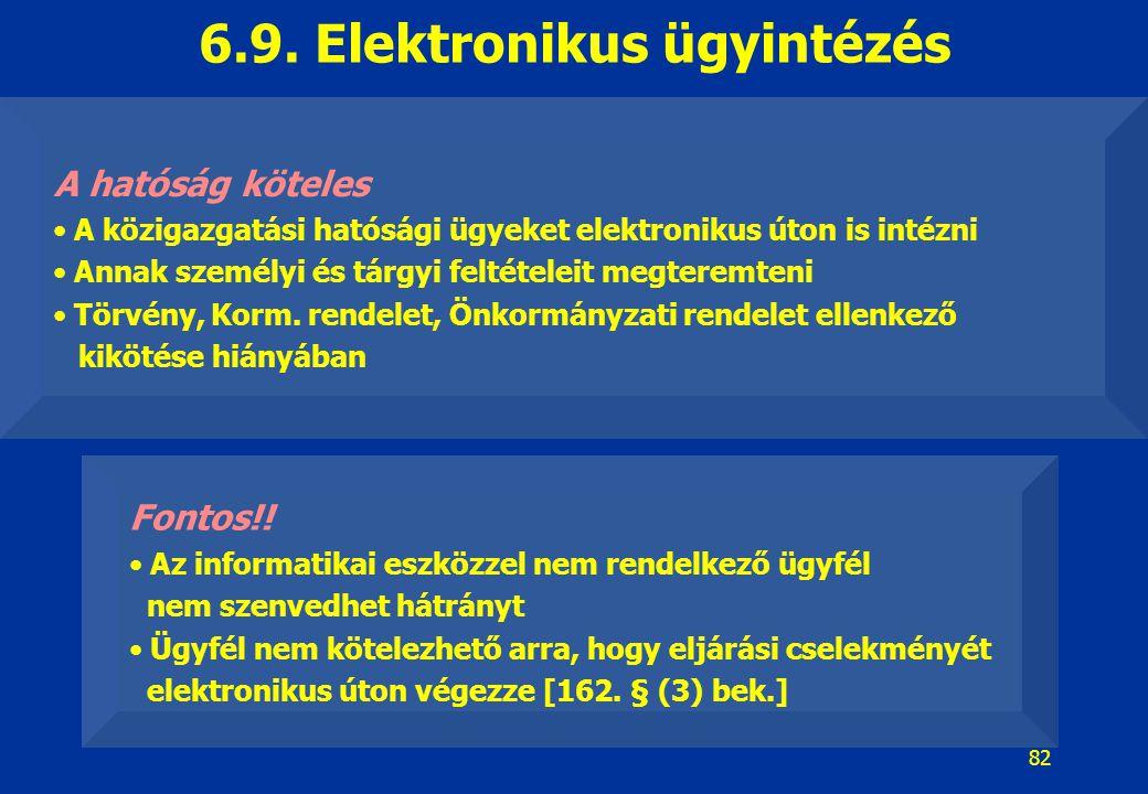 82 6.9. Elektronikus ügyintézés A hatóság köteles A közigazgatási hatósági ügyeket elektronikus úton is intézni Annak személyi és tárgyi feltételeit m