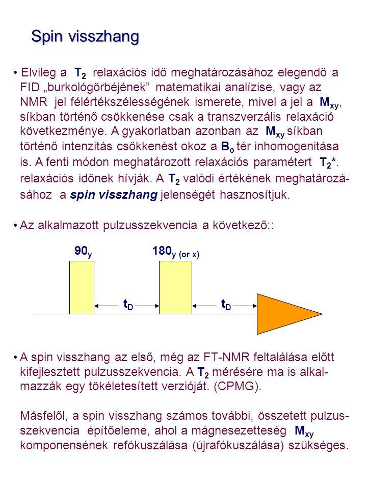 """Spin visszhang Spin visszhang Elvileg a T 2 relaxációs idő meghatározásához elegendő a FID """"burkológörbéjének"""" matematikai analízise, vagy az NMR jel"""