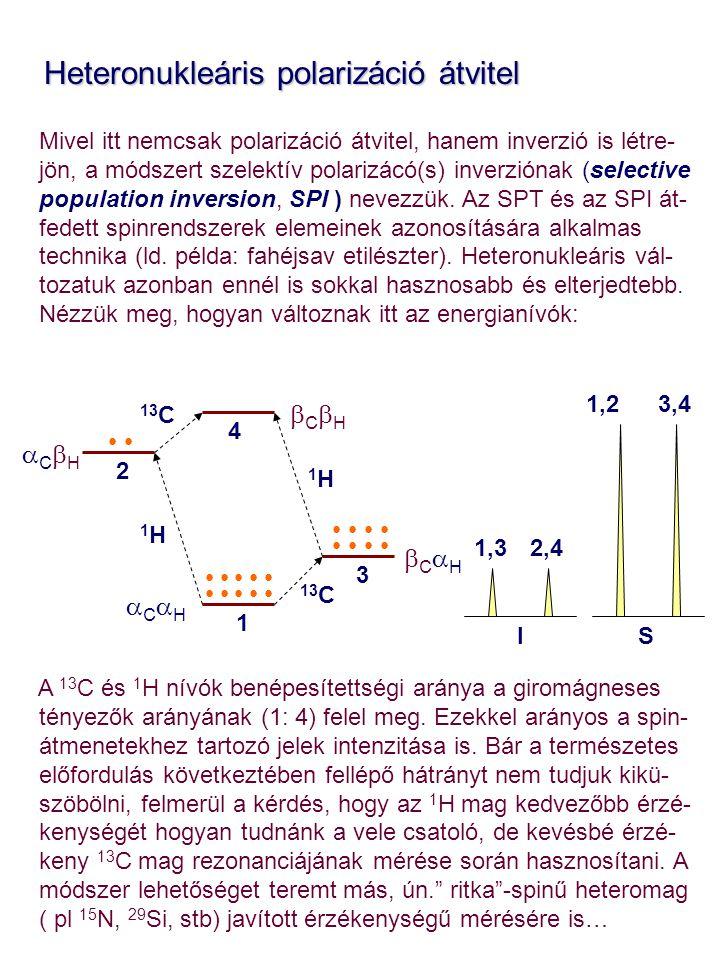 Heteronukleáris polarizáció átvitel Heteronukleáris polarizáció átvitel Mivel itt nemcsak polarizáció átvitel, hanem inverzió is létre- jön, a módszer