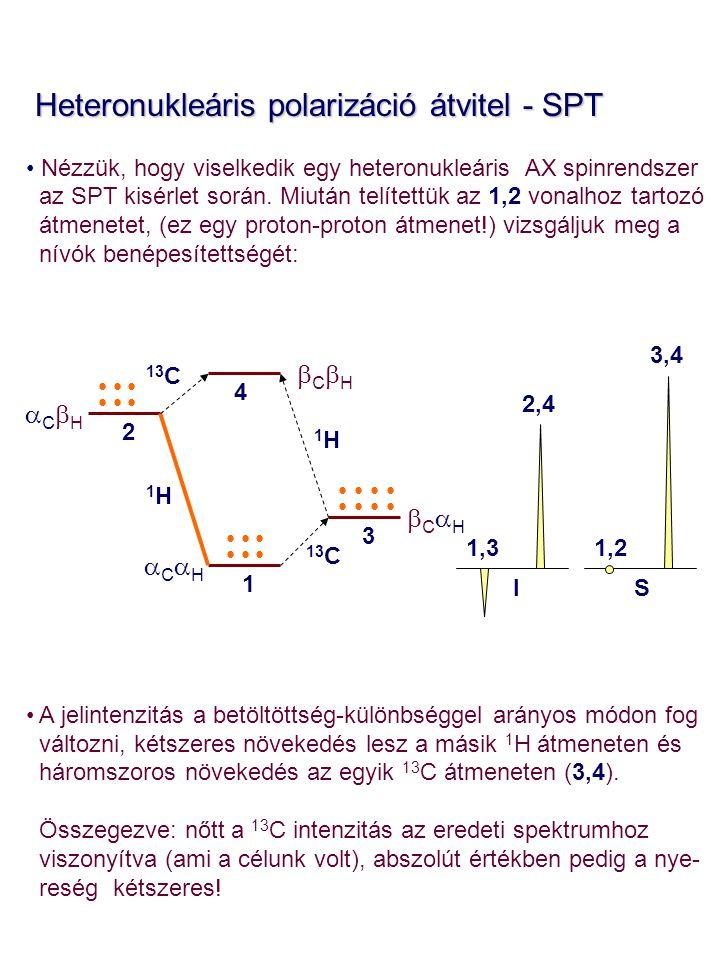 Heteronukleáris polarizáció átvitel - SPT Heteronukleáris polarizáció átvitel - SPT Nézzük, hogy viselkedik egy heteronukleáris AX spinrendszer az SPT