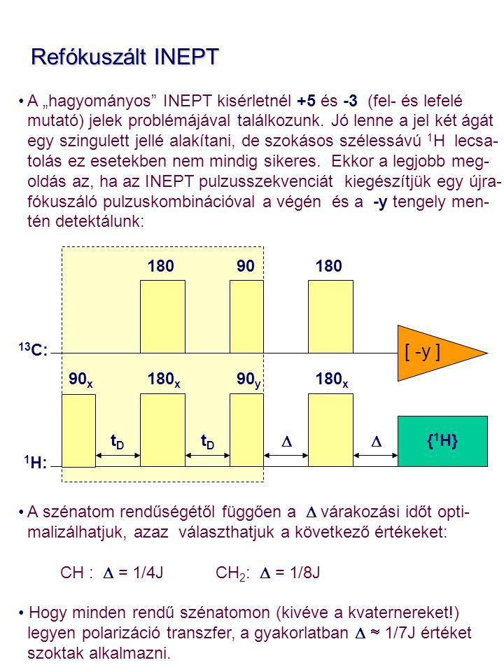 """Refókuszált INEPT Refókuszált INEPT A """"hagyományos"""" INEPT kisérletnél +5 és -3 (fel- és lefelé mutató) jelek problémájával találkozunk. Jó lenne a jel"""