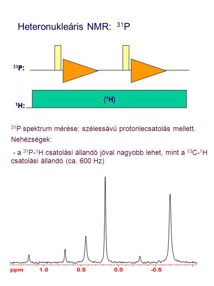 31 P spektrum mérése: szélessávú protonlecsatolás mellett. Nehézségek: - a 31 P- 1 H csatolási állandó jóval nagyobb lehet, mint a 13 C- 1 H csatolási