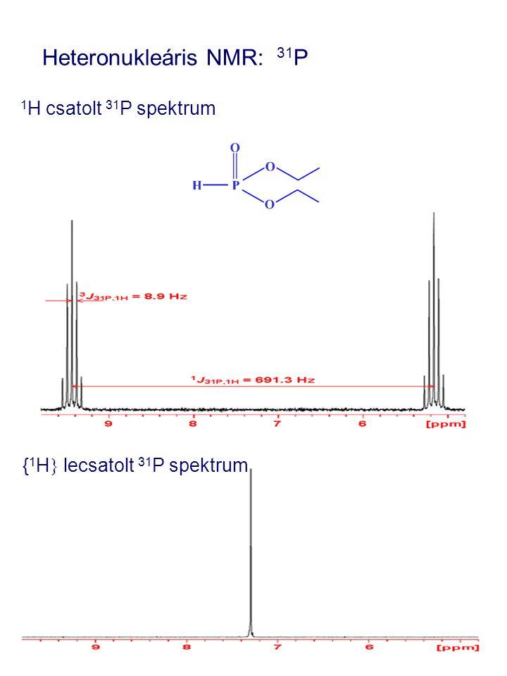 Heteronukleáris NMR: 31 P 1 H csatolt 31 P spektrum { 1 H } lecsatolt 31 P spektrum