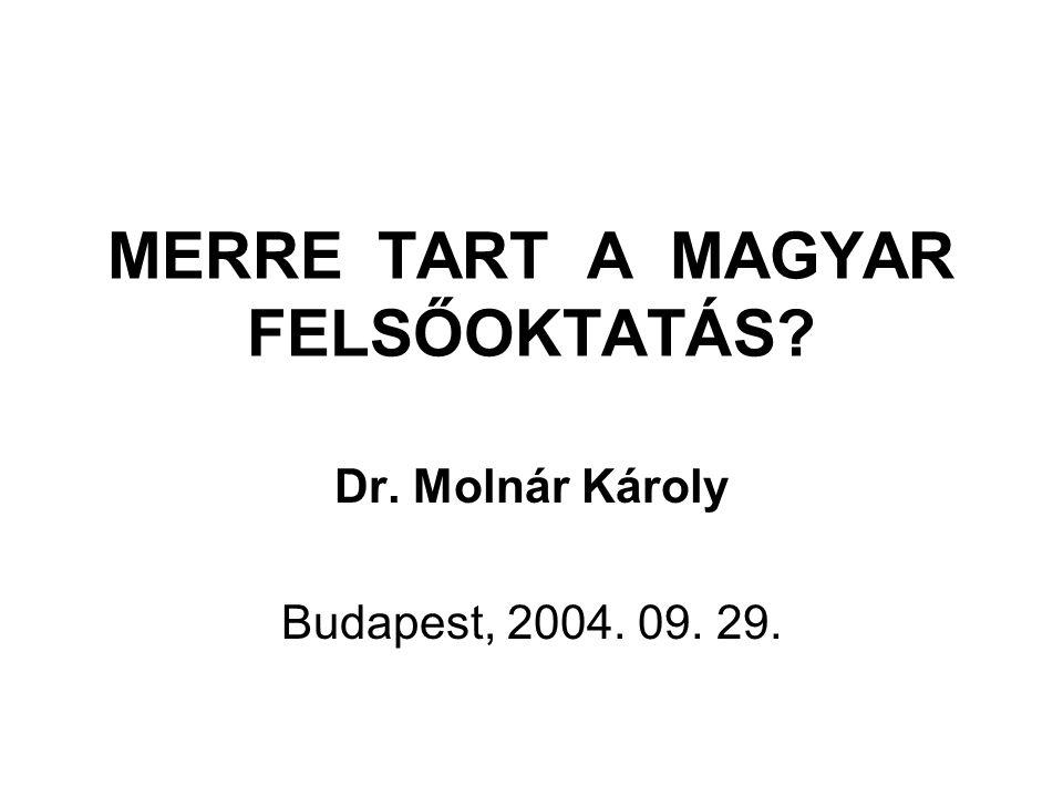 MERRE TART A MAGYAR FELSŐOKTATÁS Dr. Molnár Károly Budapest, 2004. 09. 29.